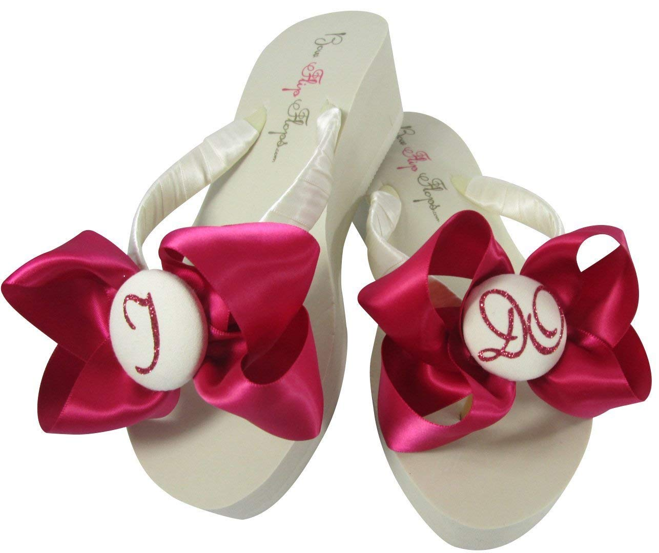 0ce2edc87 Get Quotations · Ivory I Do Flip Flops with Glitter Bows in 2 inch heel for  the Bride