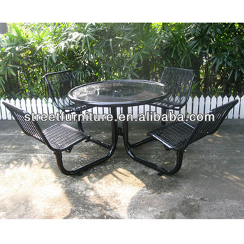 Black Powder Coating Beer Garden Chair Table With Umbrella Hole