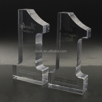Luxury Engraved Cryscal Acrylic Block Trophy Stand Wholesale
