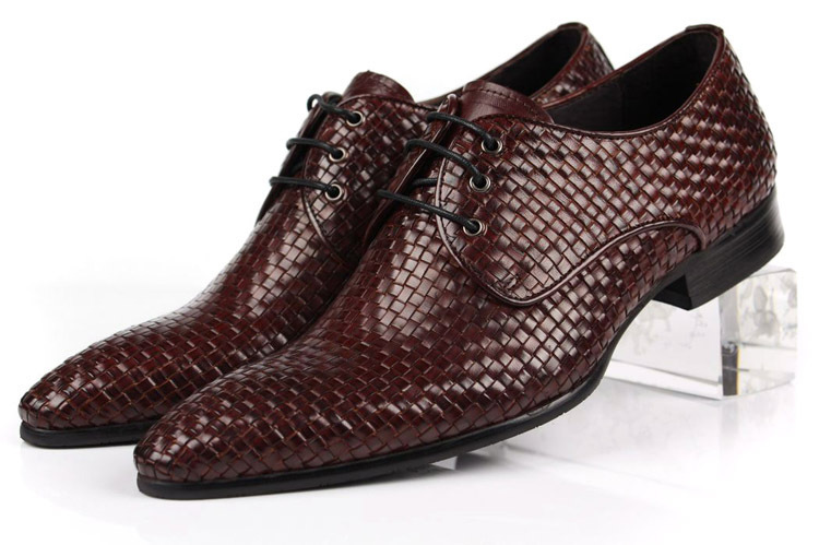 NEW hot sale 2015 Italian fashion knitted style brown genuine leather men dress shoes flats business office size:6-10 OX98