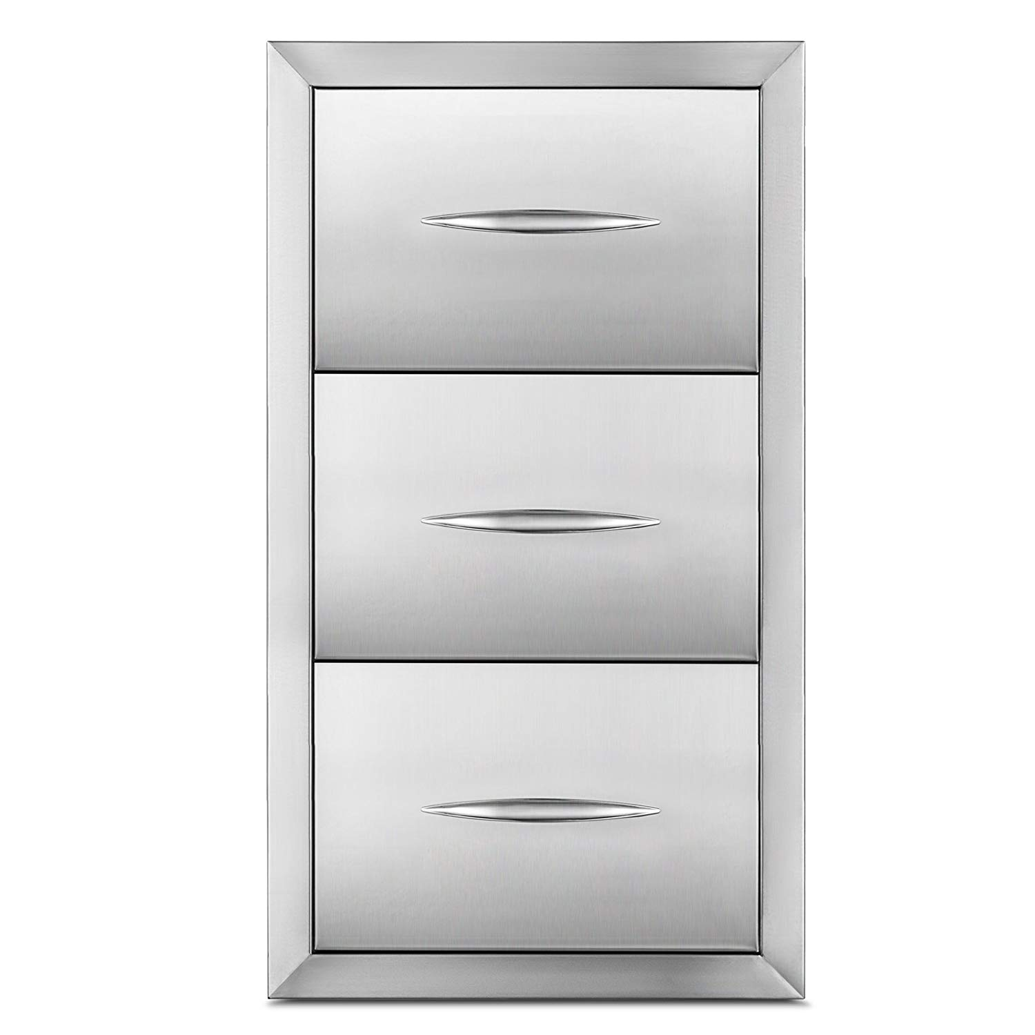 """Happybuy Outdoor kitchen drawer 18""""x15"""" Stainless steel BBQ Island Drawer storage with Chrome Handle Double Access Drawer Flush Mount Sliver Double Access Drawer (Outdoor kitchen Drawer 30""""x17"""")"""