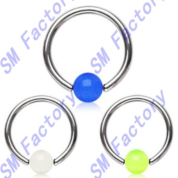 acylic captive bead ring with white glow in the dark ball body piercing jewelry--SMY44343
