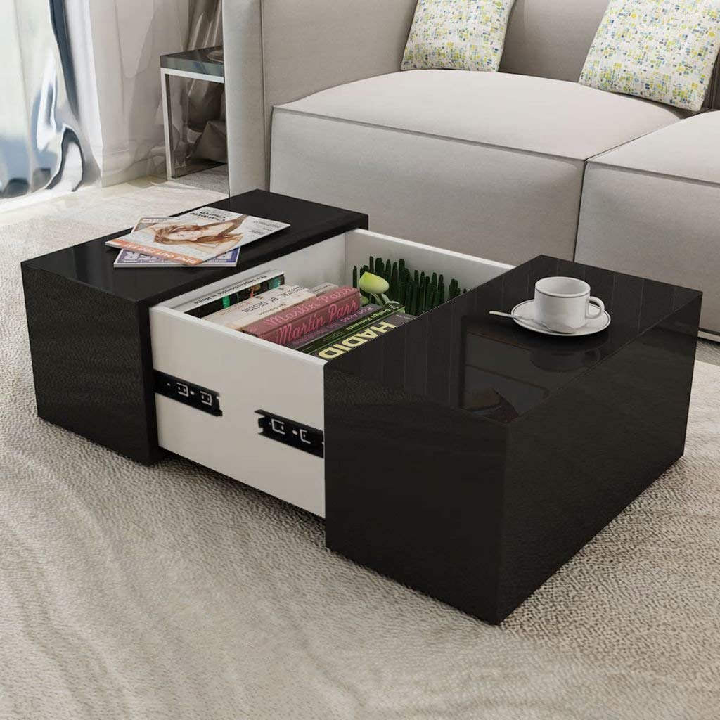 """Festnight Square Coffee Table Dining Room High Gloss Modern End Side Table with A Concealed Storage Compartment 23.6"""" x 23.6"""" x 11.8"""" (Black)"""