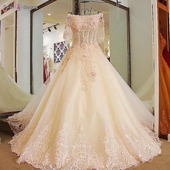Ls04779 Pink Lace Flowers Ball Gown Wedding Dresses For Used China Guangzhou Dress
