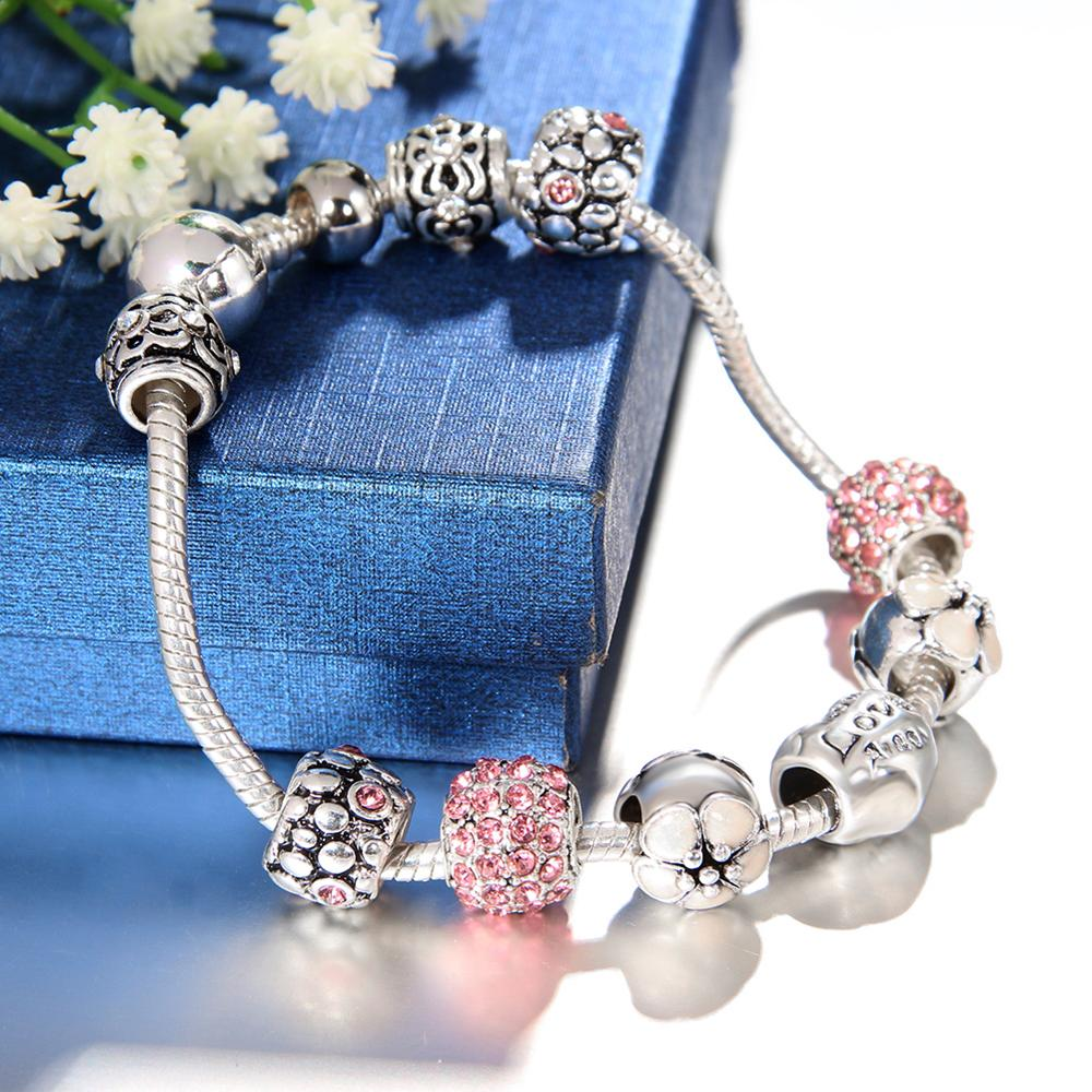 Wholesale Fashion Jewelry Women DIY Silver Charms Bracelet Making