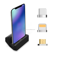 3 in 1 Innovation phone charger magnetic docking station with type c micro usb and ios connectors With holder Stand