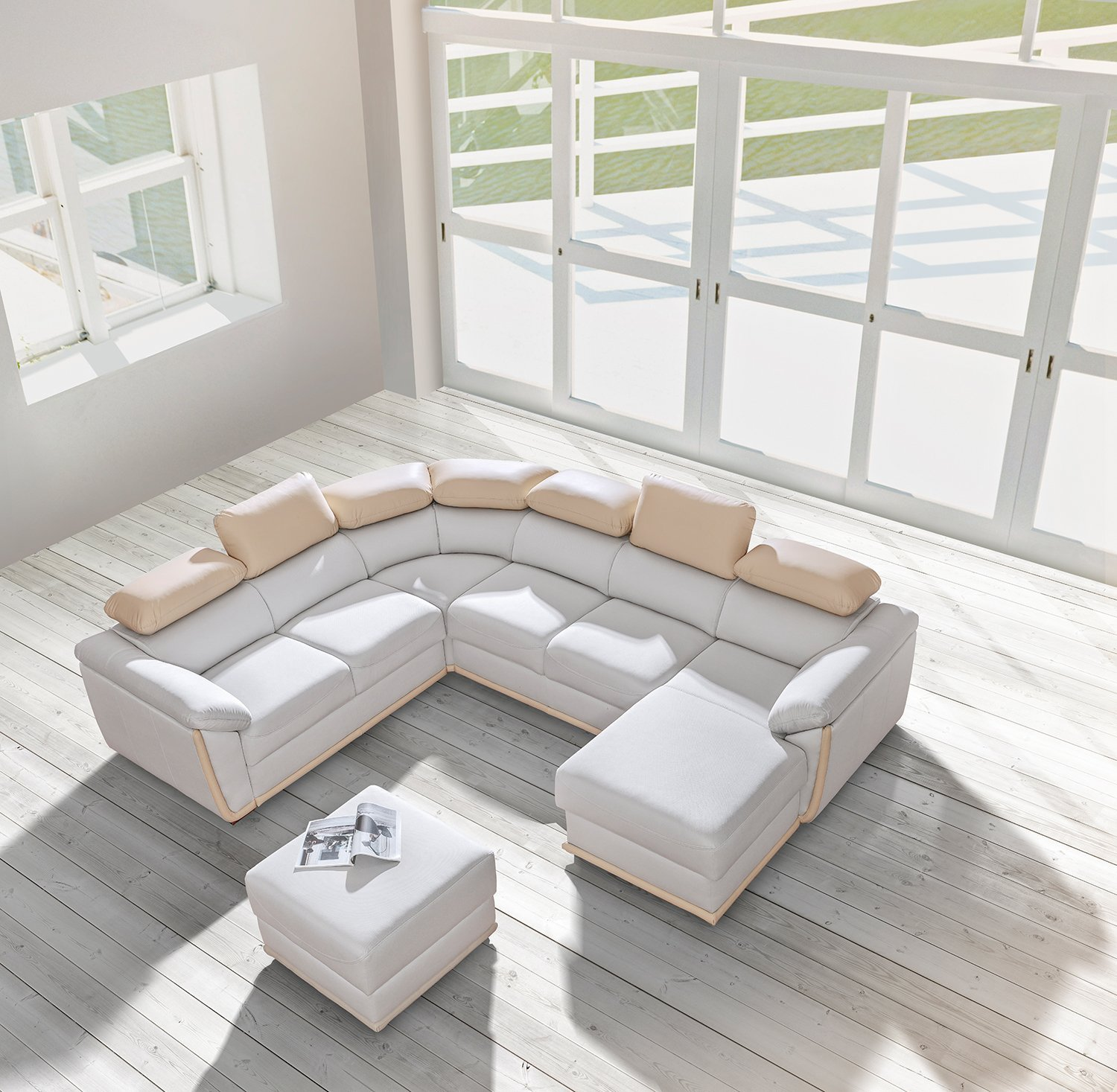 Get Quotations Cadiz Dolm08 Right Corner Sectional Sofa Bed White Beige