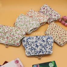 Printed coin bank card bag , wholesale small and pure and fresh flower fabrics change purse