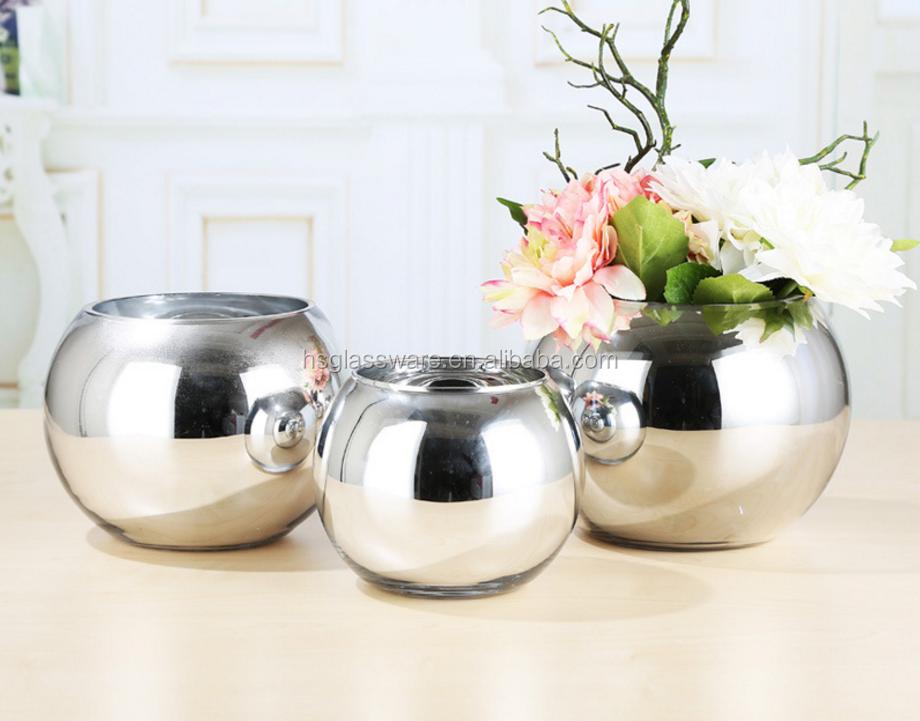 Flower Wedding Centerpiece Table Decoration Silver Plated Modern