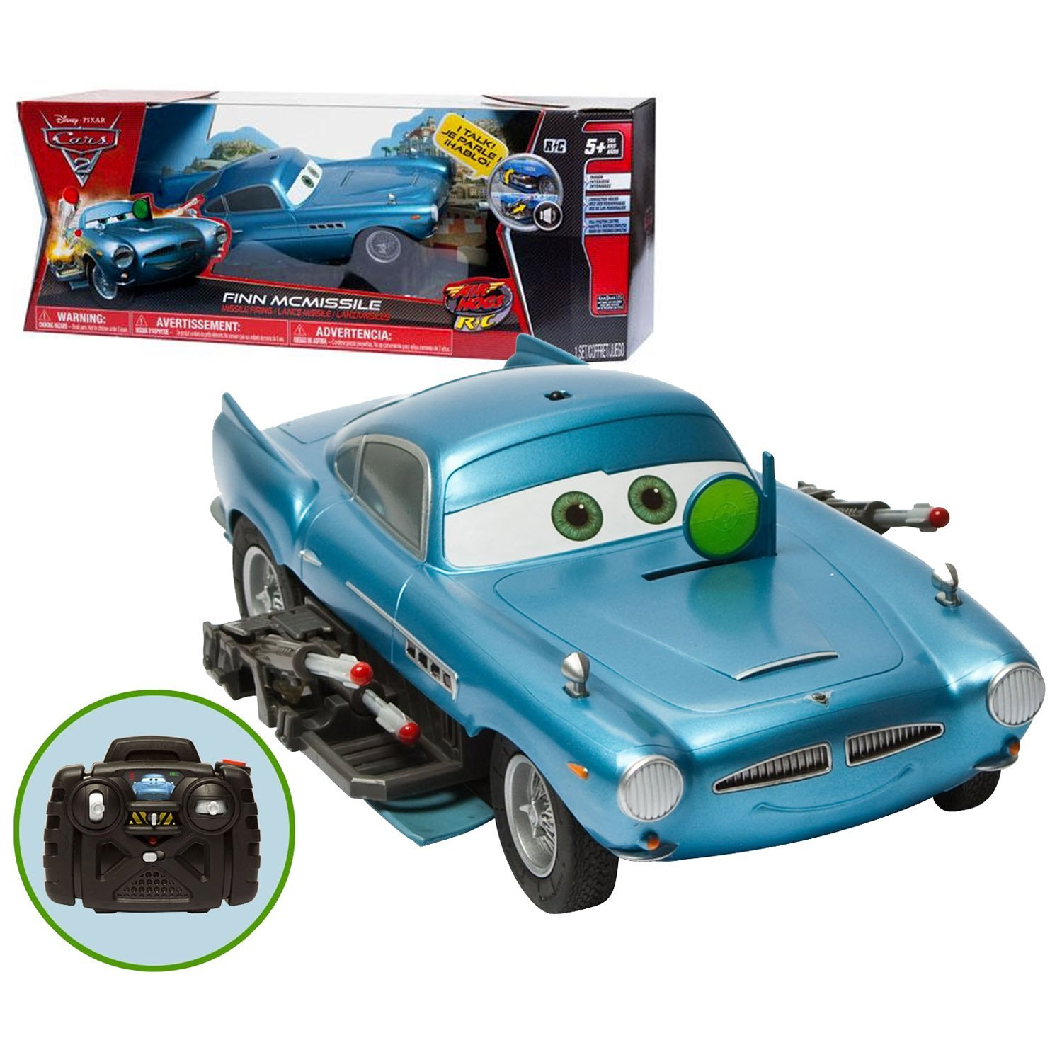 """Spin Master Year 2011 Disney Pixar Movie Series """"Cars 2"""" Air Hogs R/C Indoor Remote Control Car - FINN MCMISSILE with Full Function Control, Character Voice and Missile Firing Features Plus 3 Targets, 10 Missiles, Controller and Instruction Guide (Car Dimension: 9"""" x 4-1/2"""" x 2"""")"""