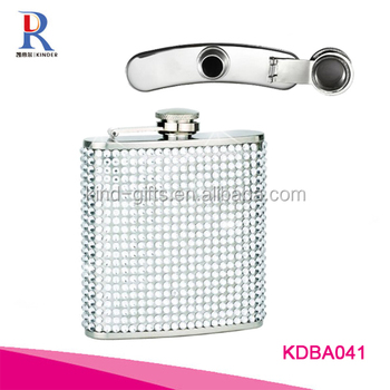 White Diamond / Clear Crystal Stainless Steel Hip Flask 6oz