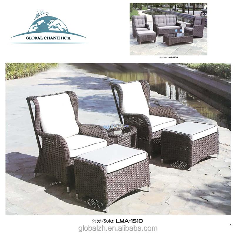 Uv Resistance Wicker 2 Seaters Plastic Patio Rattan Garden Furniture Outdoor Sofa Set