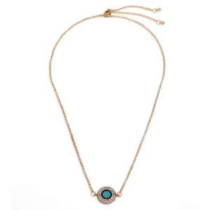 Trendy Rhinestone Blue Eyes Pendant Necklace For Woman Adjusted Necklace Statement Necklace