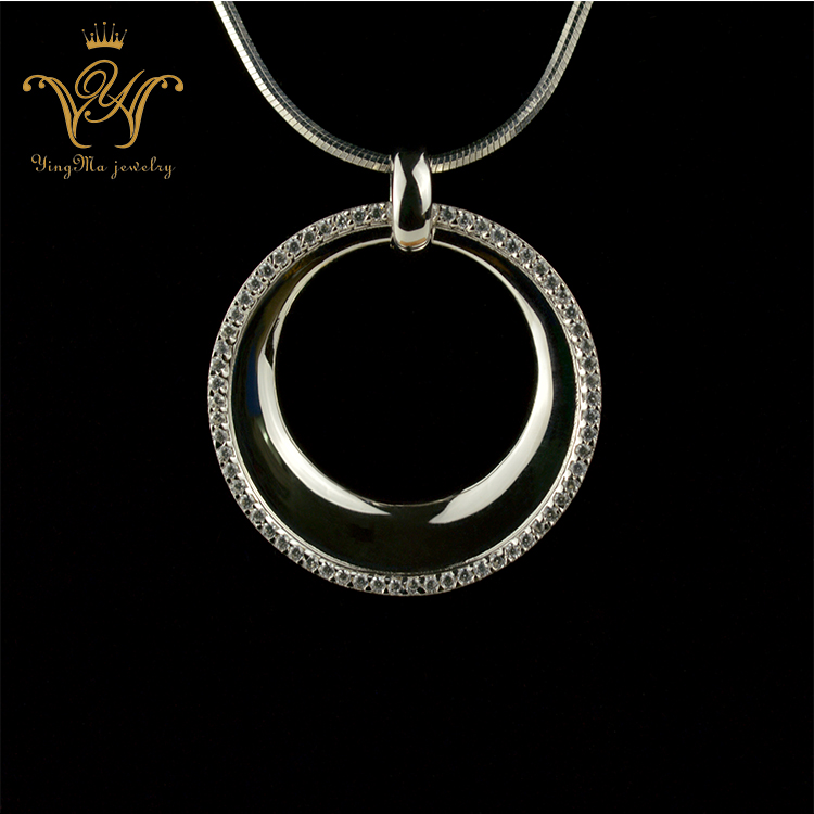 Fashion jewellery cz diamond stone plated platinum simple hoop pendant
