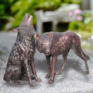Factory Supply Bronze Casting Animal Life Size Bronze Wolf Sculpture