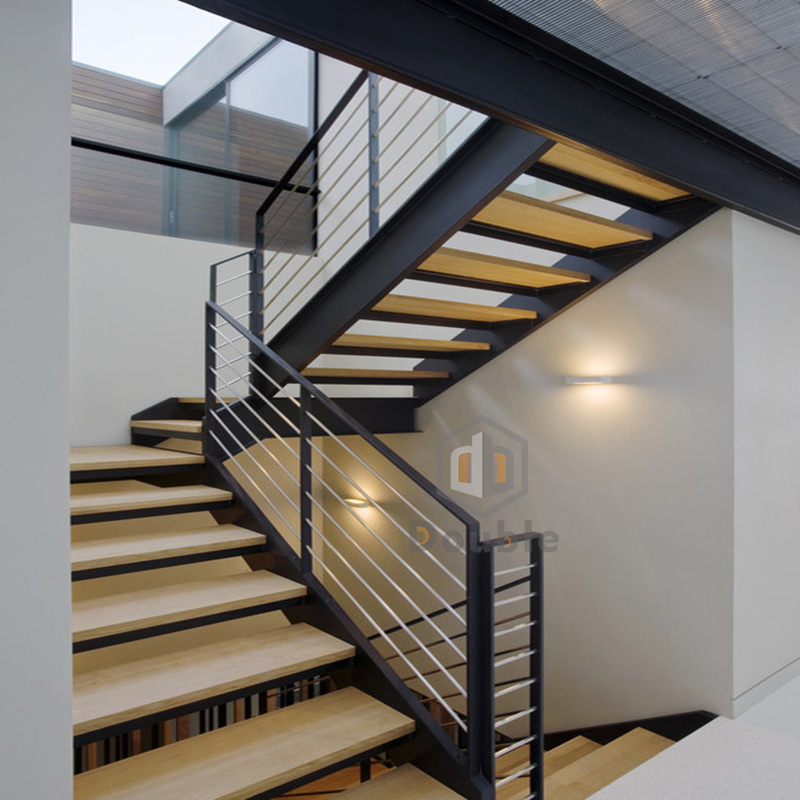 Premade Stairs/ Metal Straight Staircase/ Hard Wood