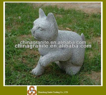 Garden Granite Cat Statue