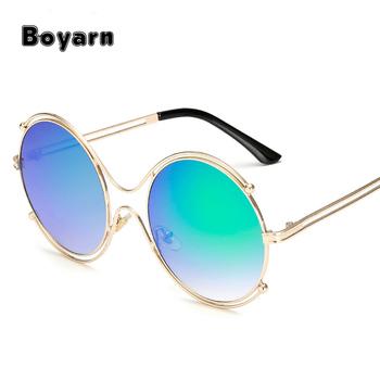 2018 Warna-warni Terbaru Bingkai Kacamata Hitam untuk Anak Perempuan Besar  Bulat Matahari Kacamata Antik b376b9bbc5