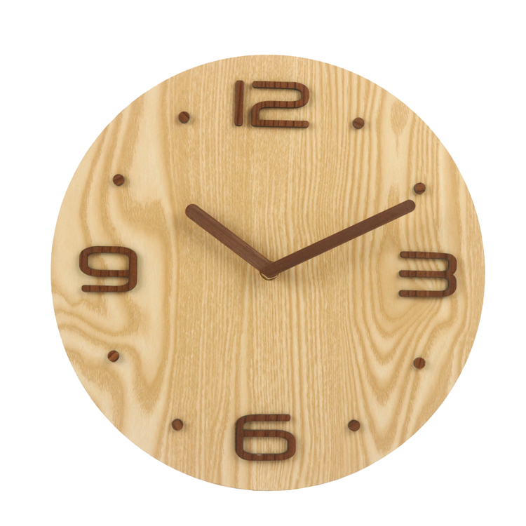 Home office wall decorative art natural wood craving 3d numbers round shape wooden wall clock with si
