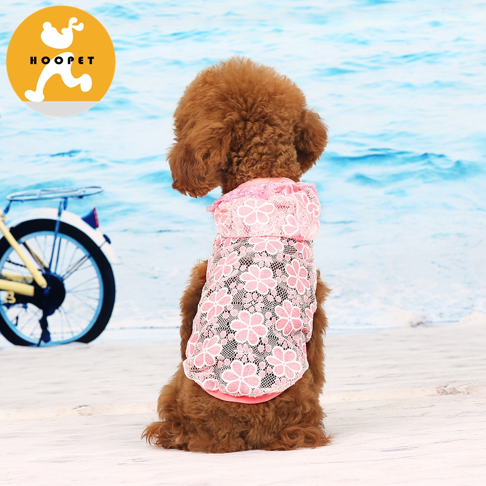Lace flower pattern pink pet rain coat UV resistant clothes