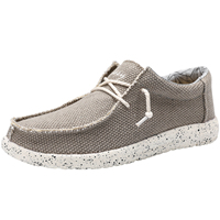 Stretch Loafers Driving Flat Lace up Comfortable Canvas Shoes for Men Breathable and Soft Shoes