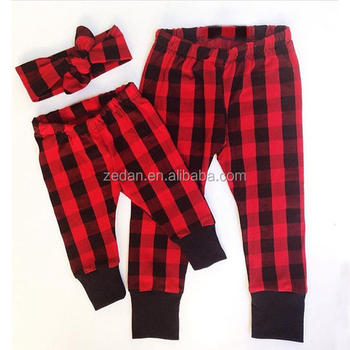 wholesale the popular buffalo plaid color for unisex baby long pants two piece with hat or headband in different price