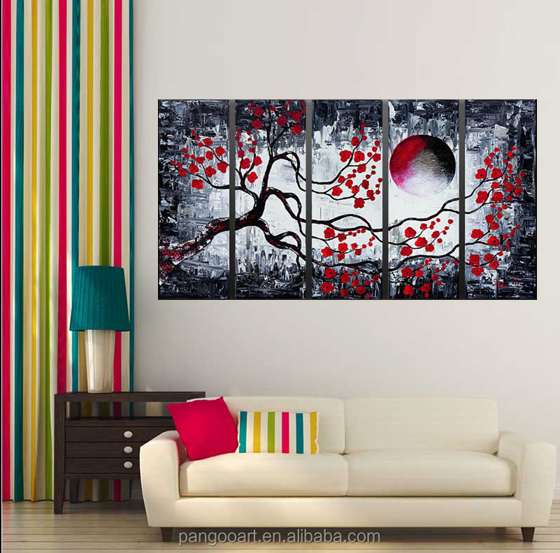6264c2aa7cc Handmade Wall Art Red Black Lines Abstract Landscape Oil Painting on Canvas Decoration  Canvas Painting for Hotel Decor