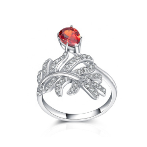 Wholesale single zircon stone 925 silver red coral ring designs