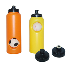 Plastic sports water bottle with basketball and football