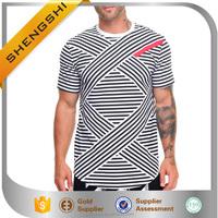 Rounded hem pieced logo yarn dyed striped t shirts custom striped t shirt