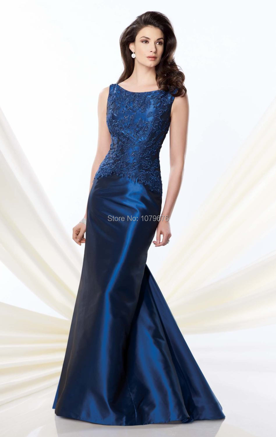 7db1c9fd8e Get Quotations · 2015 Modest Navy Blue Scoop Cap Sleeves Lace Beaded Mother  of the Bride Dress Gown Long