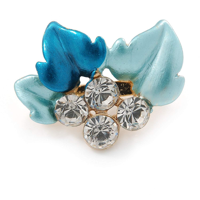 Small Teal/ Light Blue Enamel, Crystal Leaf Pin Brooch In Gold Tone - 25mm