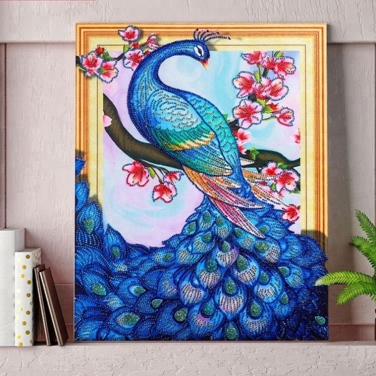 wholesale decoration house artwork peacock pattern diy 5d diamond canvas painting <strong>pictures</strong>