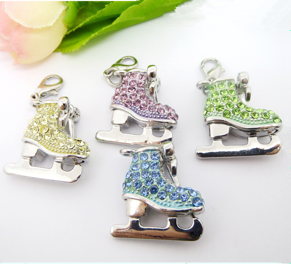 High quality wholesale silver colorful rhinestone 3D ice skating charms