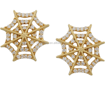 Spider Web Cobweb Gold Plated Earring Castings Studs