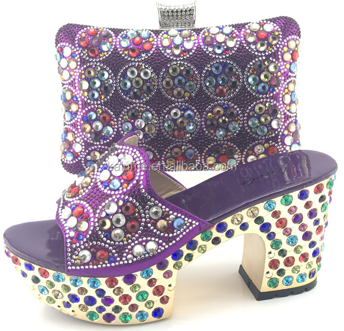Bag With Bags Party Ladies Matching Shoes Beautiful Heel 9 Shoes African Stones In CM Women With Set And ME7709 Purple Italian w1f6q8Zn6