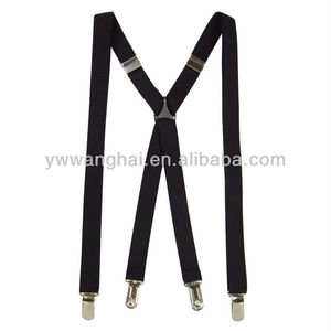 iron clip western style brace,X style black elastic suspenders