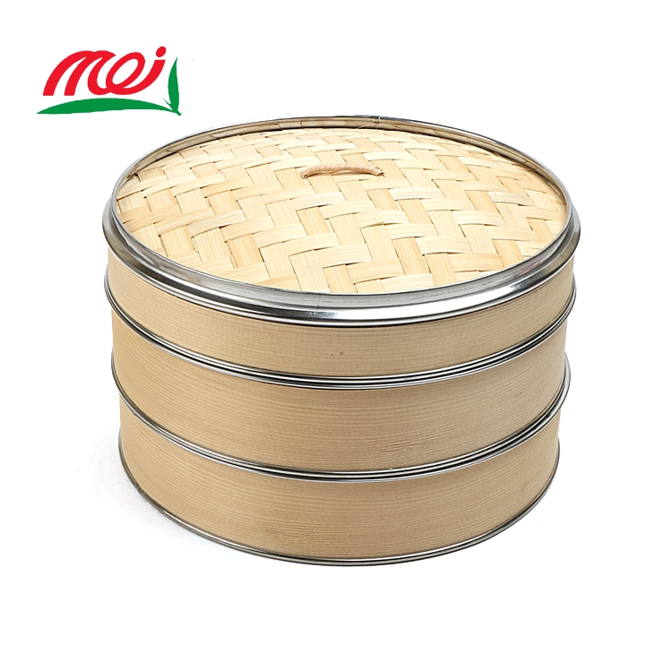 chinese big food round bamboo steamer