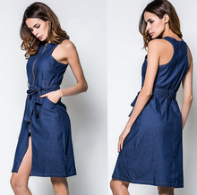 X86024A wholesale summer women long denim dress for ladies dress cutting