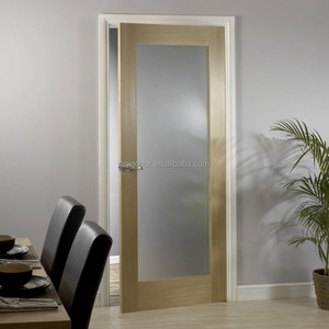 White oak quater cut veneer laminated wooden swing door with glass panel