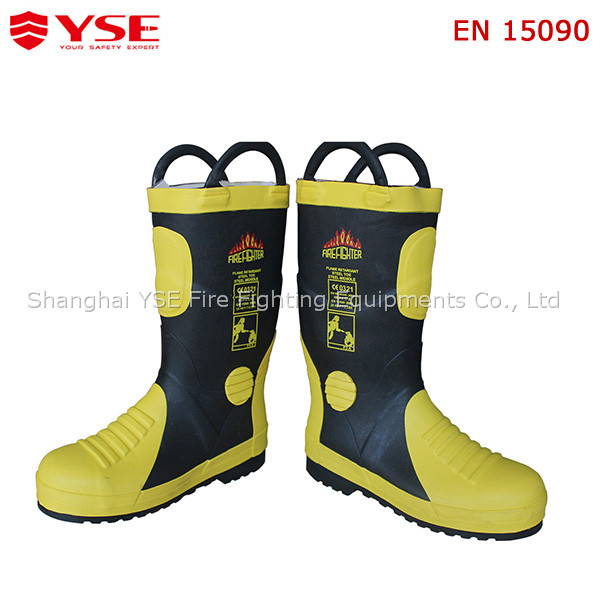 Rubber fire fighter protection boots with steel toe and capes