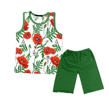 baby kids wear boutique clothing floral printed tunics match green shorts outfit