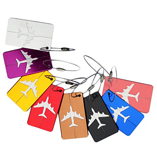 Yalis 8 Pcs Aluminum Alloy Luggage Tag, ID Holder Travel Backpack Handbag Label for Business, With Ring (Airplane 8 Colors)