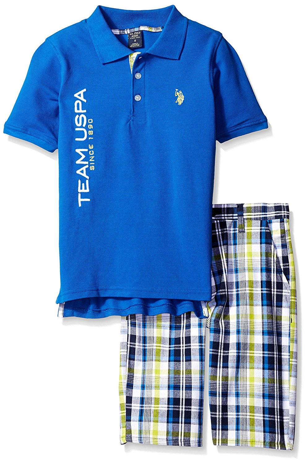 U.S. Polo Assn. Big Boys' Embellished Pique Polo Shirt and Plaid Short