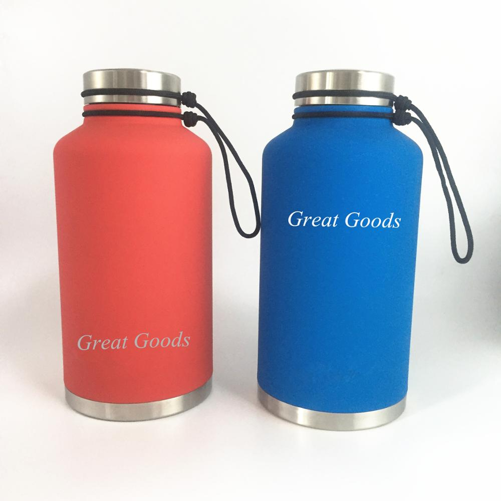 64 oz vacuum Insulated stainless steel water bottle and beer growler with carry pouch