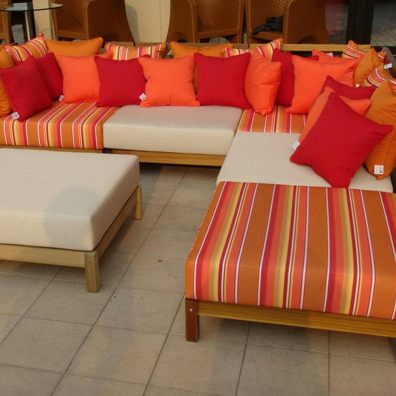 Wooden sofa with cushions wood couches