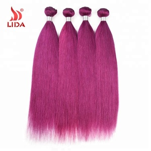 Brazilian Purple color human Hair weave extensions Raw Original Natural Weft