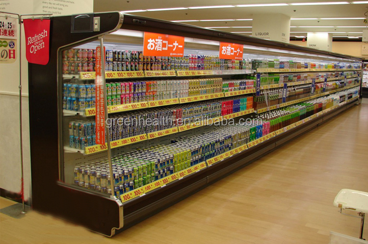 Supermarket Open Display Beverage Fruit Vegetable Refrigeration ...