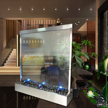 Malaysia room divider glass waterfall decoration divider for Indoor water fountain design malaysia