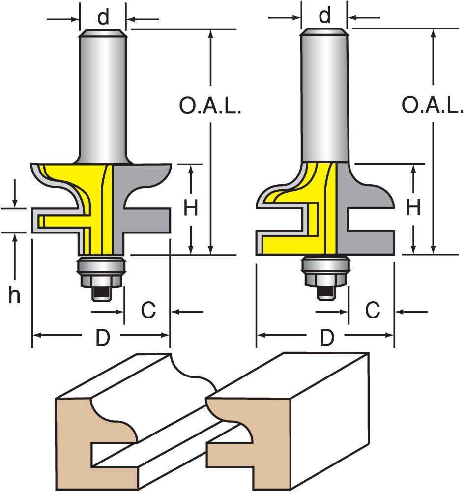 "Woodtek 821089, 10-pack , Router Bits, Door Construction, Stile & Rail Cabinet, Rail & Stile Set, Ogee Detail, 1/2"" Shank"